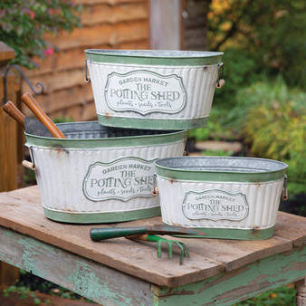 (Set Of 3) Rustic Potting Shed Buckets