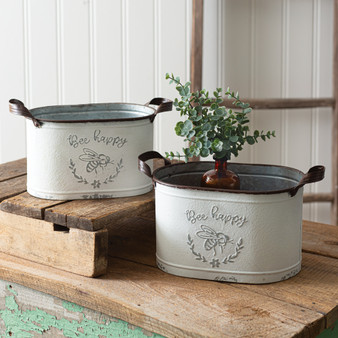 (Set Of 2) Bee Happy Oval Buckets
