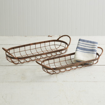 (Set Of 2) Copper Finish Bread Baskets