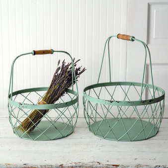 (Set Of 2) Robins Egg Wire Baskets
