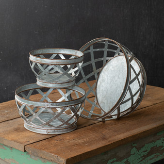 (Set Of 3) Metal Woven Baskets