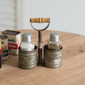 Galvanized Salt And Pepper Caddy With Wood Handle