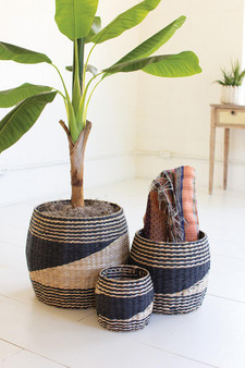 (Set Of 3) Round Black And Natural Seagrass Baskets