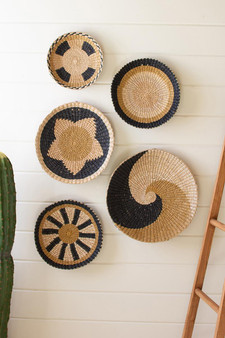 ((Set Of 5)) Round Seagrass Platters - One Each