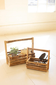 (Set Of 2) Recycled Wood Slatted Baskets With Tall Handles