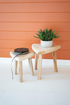 (Set Of 2) Hand Carved Wooden Triangle Top Stools
