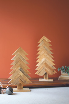(Set Of 2) Recycled Wooded Christmas Trees
