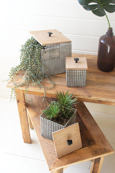 (Set Of 3) Perforated Metal Canisters With Wooden Lids