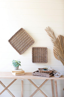 (Set Of 5) Square Rattan Trays