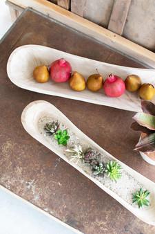 (Set Of 2) Hand Carved Oval Wooden Bowls