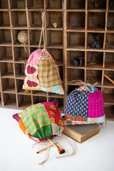 (Set Of 3) Kantha Ditty Bags