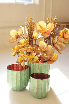 (Set Of 3) Metal Planters With Antique Brass Finish