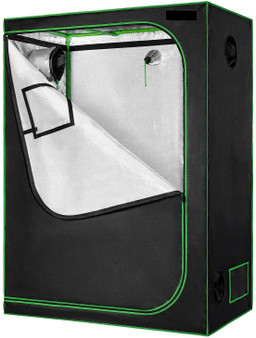 "48""X24""X60"" Mylar Hydroponic Grow Tent With Observation Window And Floor Tray For Indoor Plant Growing 2'X4'"
