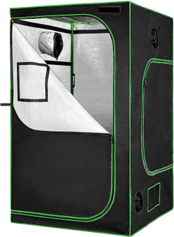 "48""X48""X80"" Mylar Hydroponic Grow Tent With Observation Window And Floor Tray For Indoor Plant Growing 4' X4'"