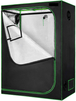 "60""X32""X80"" Mylar Hydroponic Grow Tent With Observation Window And Floor Tray For Indoor Plant Growing"