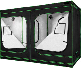 "96""X48""X80"" Mylar Hydroponic Grow Tent With Observation Window And Floor Tray For Indoor Plant Growing 4'X8'"