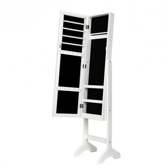 Attractive Rectangle Mirrored Jewelry Cabinet-White (HW66331WH)