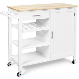 4-Tier Wood Drawer Kitchen Cart With Storage Shelf And Casters (HW66112WH)