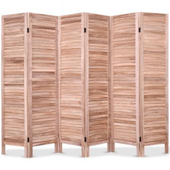 6 Panels Classic Venetian Wooden Slat Room Screen-Brown (HW66280BN)
