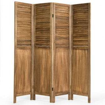 5.6 Ft Tall 4 Panel Folding Privacy Room Divider-Wood (HW61485CF)