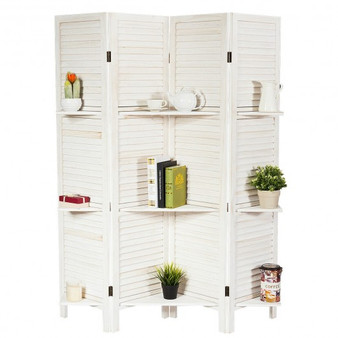 4 Panel Folding Room Divider Screen With 3 Display Shelves-White (HW66031WH)