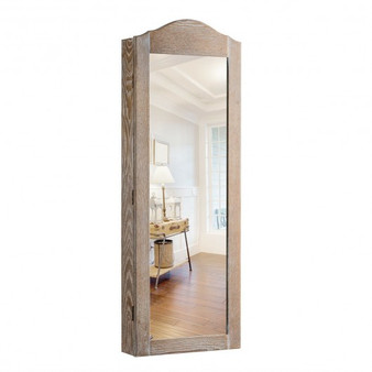 Cabinet Wall/Door Mounted With Mirror Jewelry Armoire (HW65817)