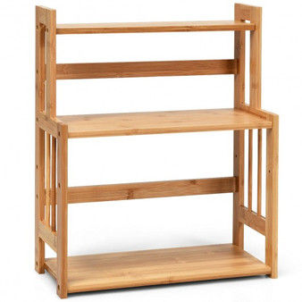 3 Tier Bamboo Spice Rack Storage Shelves For Kitchen Counter Storage (HW66318)