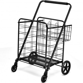 Heavy Duty Folding Utility Shopping Double Cart-Black (TL35300BK)