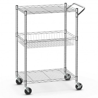 3-Tier Utility Cart Heavy Duty Wire Rolling Cart With Handle Bar Storage Trolley (HW66761)