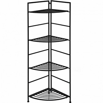 4 Tier Folding Metal Shelf Plant Stand Storage Open Shelf Corner Display Rack (GT3534)