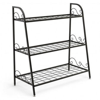3-Tier Metal Plant Stand Shelf Display Rack For Plants Shoes Flower Pot (GT3526)