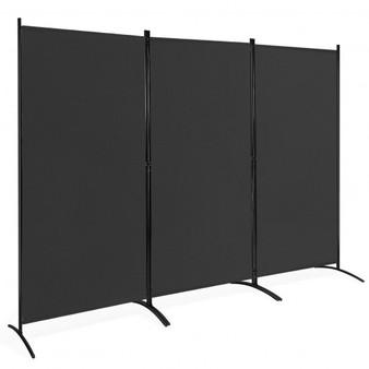 3-Panel Room Divider Folding Privacy Partition Screen For Office Room-Black (HW65774BK)