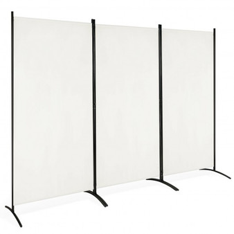 3-Panel Room Divider Folding Privacy Partition Screen For Office Room-White (HW65774WH)