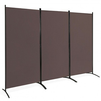 3-Panel Room Divider Folding Privacy Partition Screen For Office Room-Brown (HW65774CF)