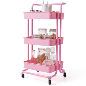 3-Tier Utility Cart Storage Rolling Cart With Casters-Pink (HW70189PI)