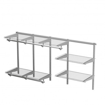 3 To 6 Ft Wall-Mounted Closet System Organizer Kit With Hang Rod -Gray (HW66519GR)