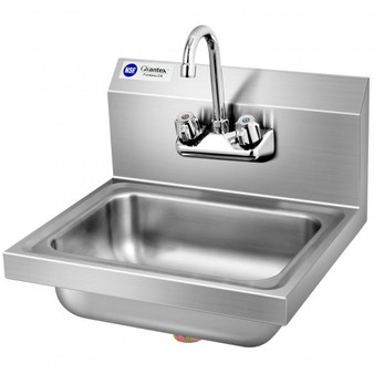 Stainless Steel Sink Nsf Wall Mount Hand Washing Sink With Faucet And Back Splash (KC52021)