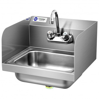 Stainless Steel Sink Nsf Wall Mount Hand Washing Sink With Faucet And Side Splash (KC52022)