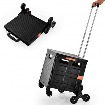 Costway Foldable Utility Cart For Travel And Shopping-Black (TL0400BK)