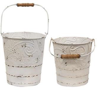 Set Of 2 - Shabby Chic Ornate Buckets