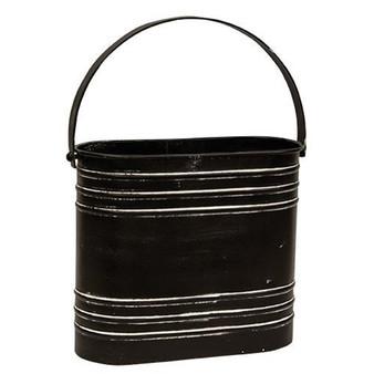 Black Distressed Metal Oval Flower Bucket With Handle