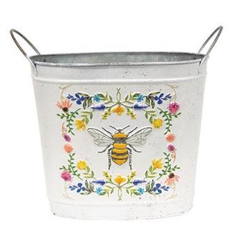 Honeybee Floral Oval Bucket
