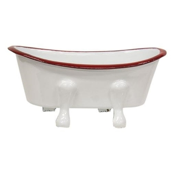 Red Rim Enamel Tub Soap Dish