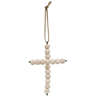 White Washed Bead Hanging Cross
