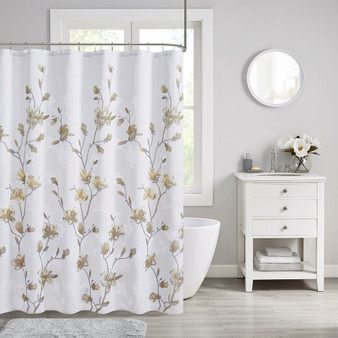 Magnolia Floral Printed Burnout Shower Curtain MP70-7482