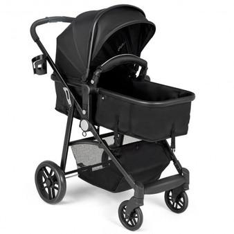 """BB5636BK"" 2-In-1 Foldable Pushchair Newborn Infant Baby Stroller-Black"