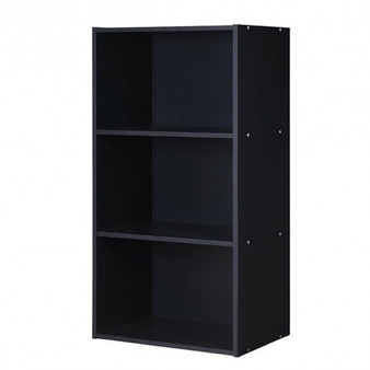"""HW63403BK"" 3 Open Shelf Bookcase Modern Storage Display Cabinet-Black"