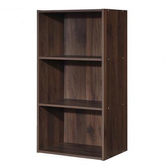 """HW63403CF"" 3 Open Shelf Bookcase Modern Storage Display Cabinet-Walnut"
