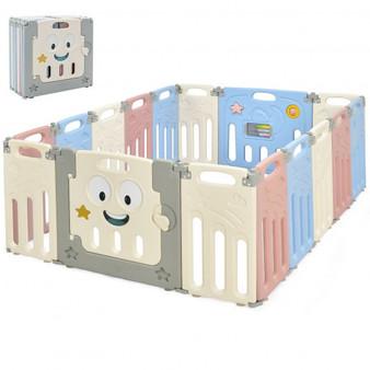 """BB5571CL"" 16-Panel Foldable Baby Playpen Kids Activity Centre-Multicolor"
