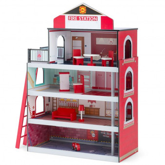 """TY327905"" Wooden Fire Station Dollhouse Playset With Truck And Helicopter"